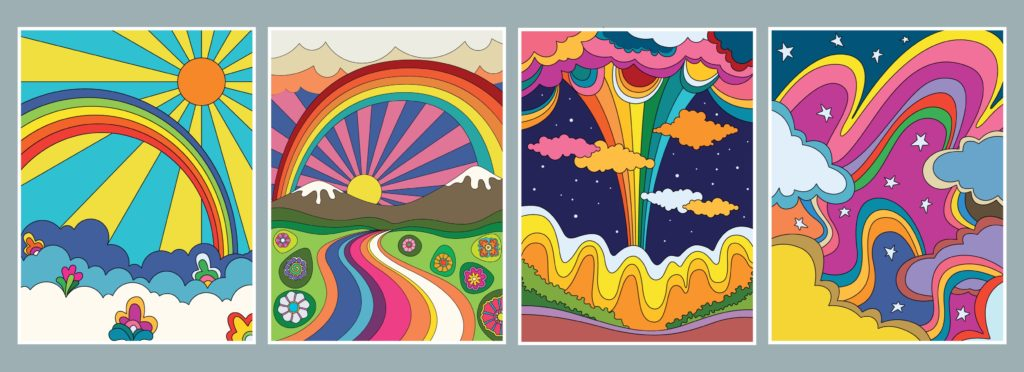 4 bright graphics of the run, rainbows, clouds and sky