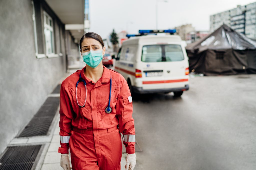 photo of paramedic with PPE