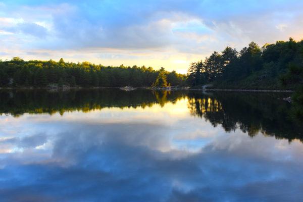 David Lake as the sun goes down in Killarney Provincial Park. Photo by Amanda Liczner