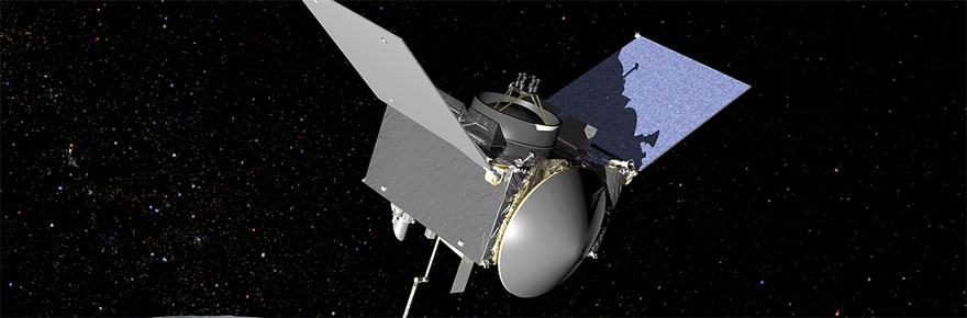 An artist's concept drawing of OSIRIS-REx OSIRIS-REx extends its sampling arm as it moves in to make contact with the asteroid Bennu