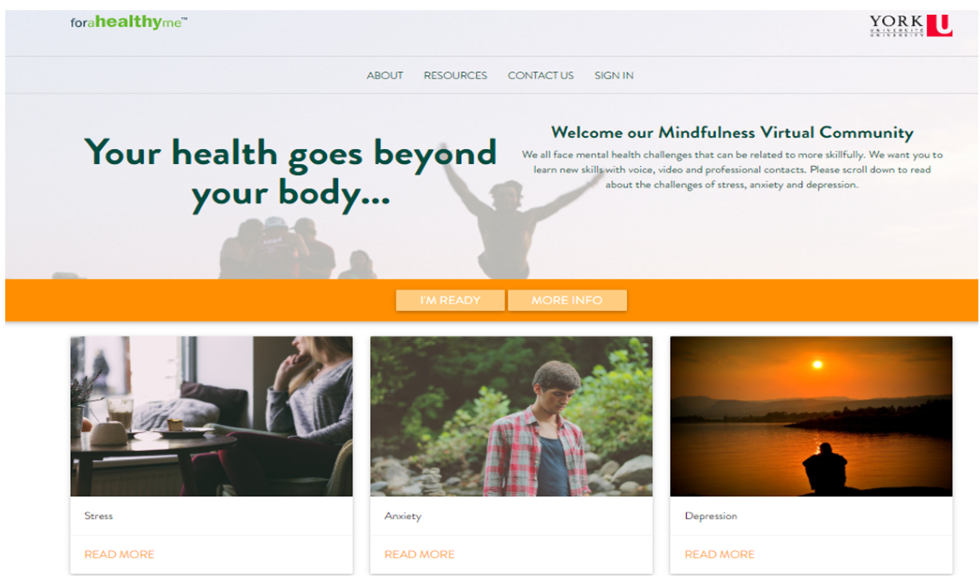 Screenshot of the Mindfulness Virtual Community platform