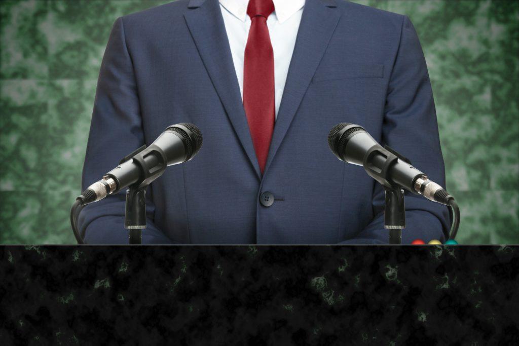 Politician at podium