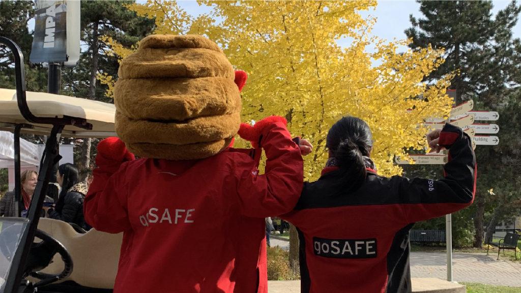 goSAFE staff member with YEO, the YU mascot