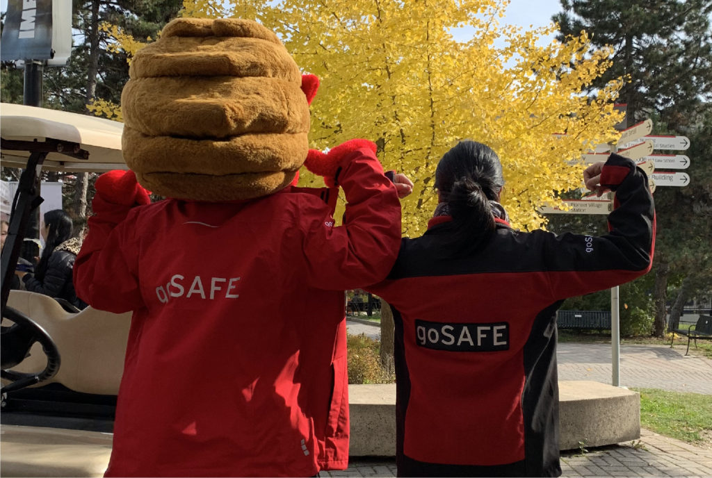 goSAFE staff member with YEO, the YU mascot
