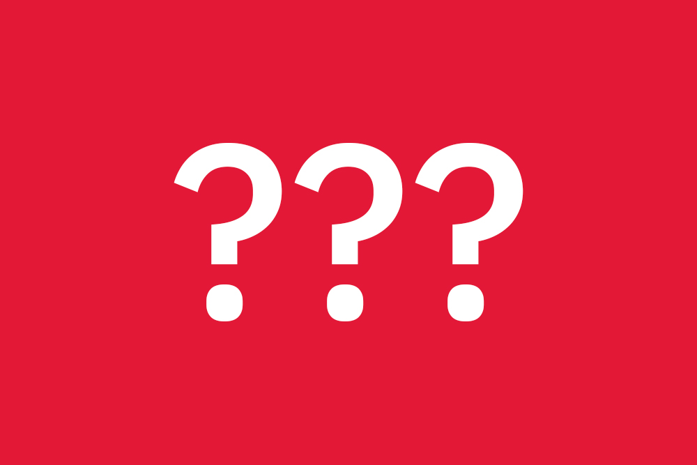 Decorative image with red background and three white question marks