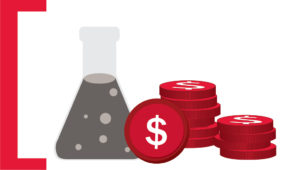 Graphic with container filled with liquid and coins