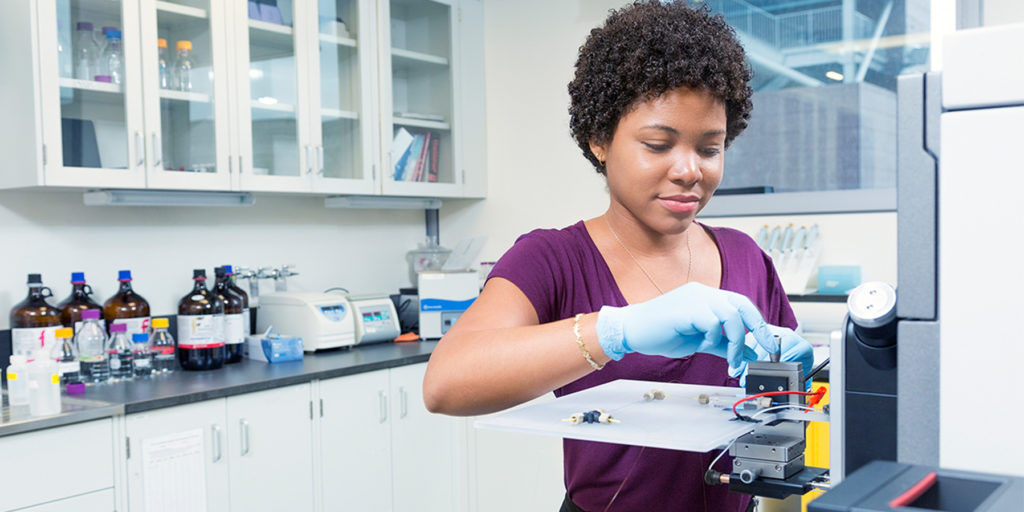 Black female York University science student in lab