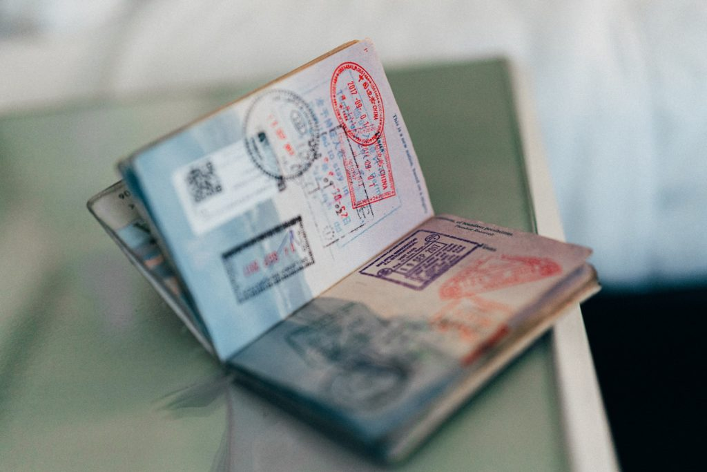 Passport stamps in passport