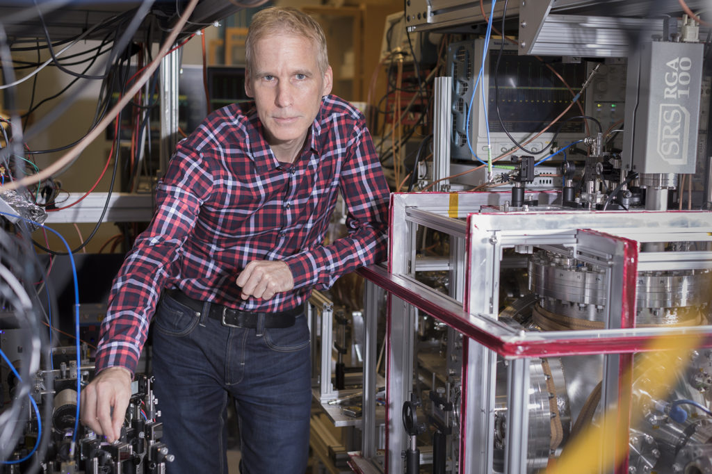Professor Eric Hessels in his lab. Hessels is the winner of the 2020 CAP Medal for Lifetime Achievement in Physics.