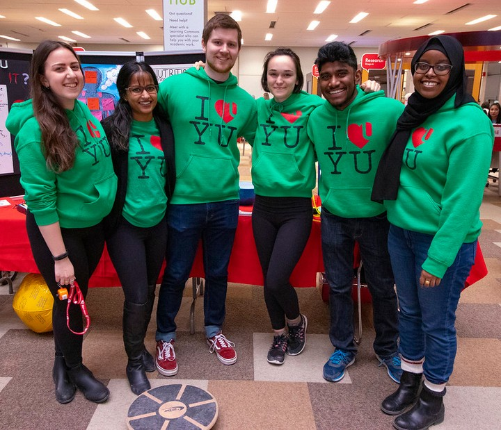 The Health Education & Promotion team at an event in the library