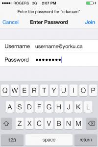 Screenshot of  entering username and password