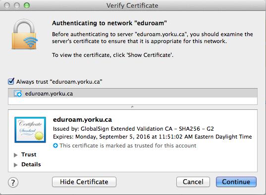 Screenshot of Mac Certificate Verify