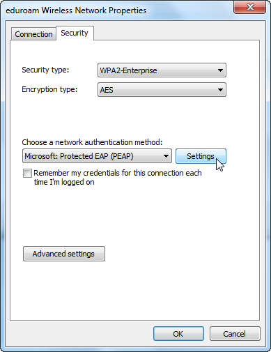 Screenshot of choosing authentication method