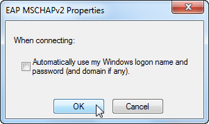 Screenshot of popup of requesting user to choose automatic use of windows login name and password