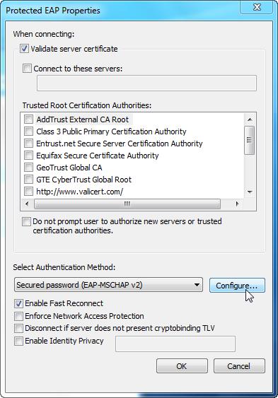 Screenshot of trusted PEAP Properties Window