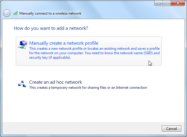 Screenshot of popup showing manually connecting to a wireless network