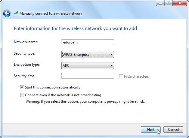 Screenshot of popup requesting selection of security settings