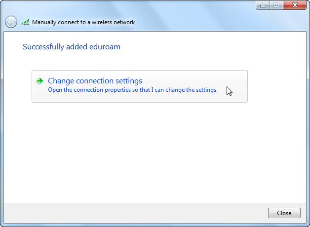 Screenshot of successful addition of eduroam