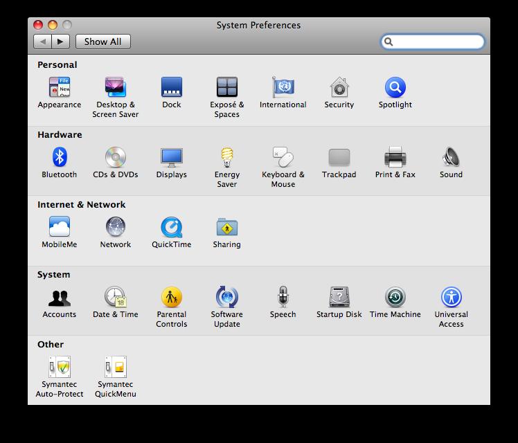 System Preferences Window
