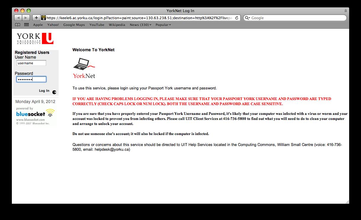 Screenshot of Yorknet Login