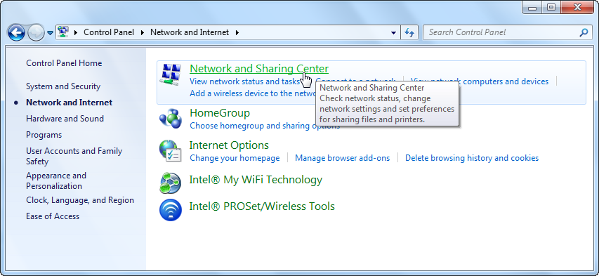 Screenshot of network and internet in control panel