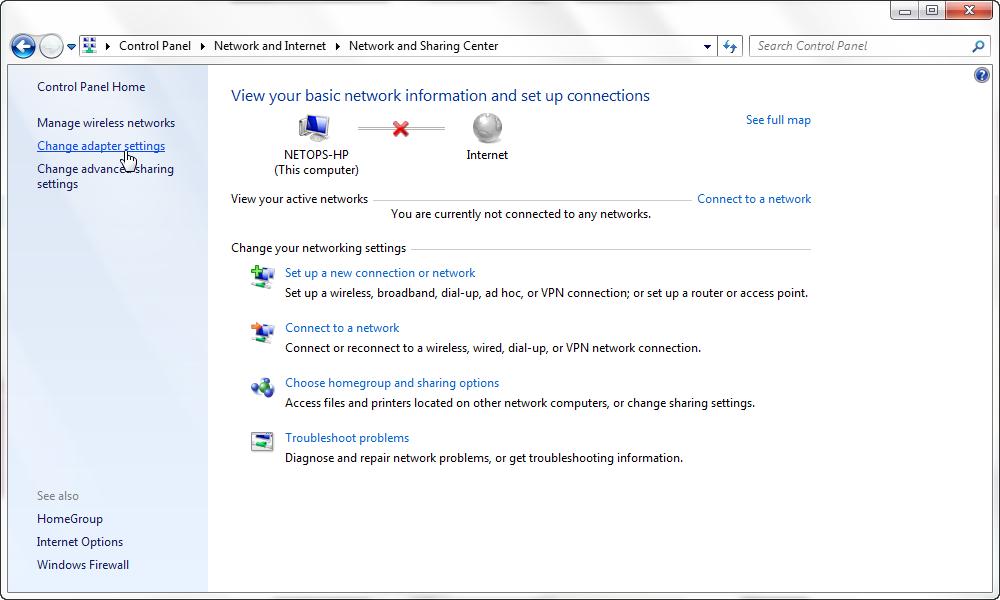 Screenshot of change adapter settings window