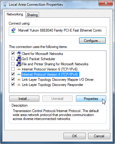 screenshot of local area connection properties
