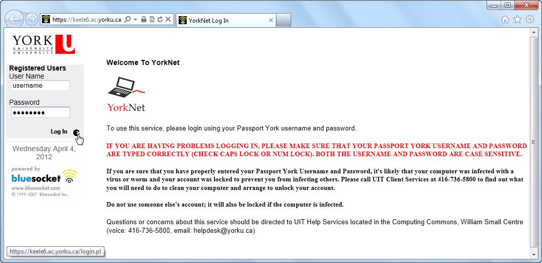 Screenshot of Passport York Login Window