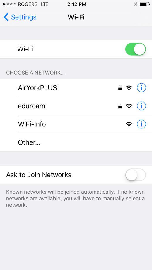 Screenshot of avilable Wifi networks