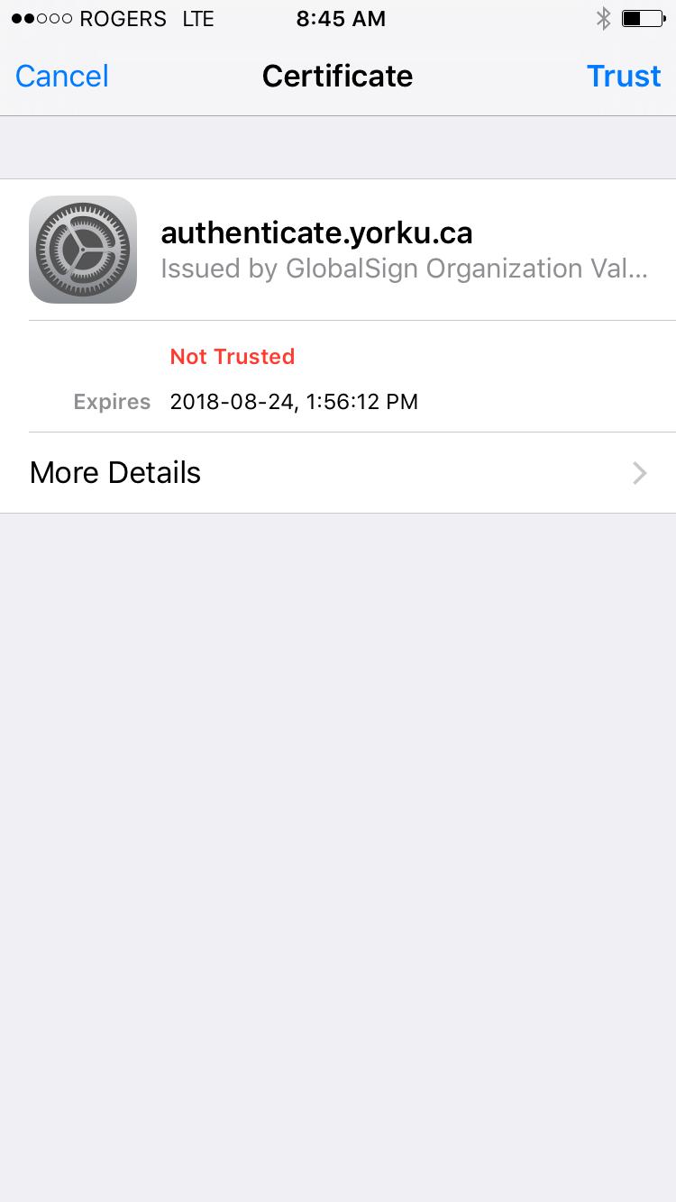 Screenshot of certificate to validate