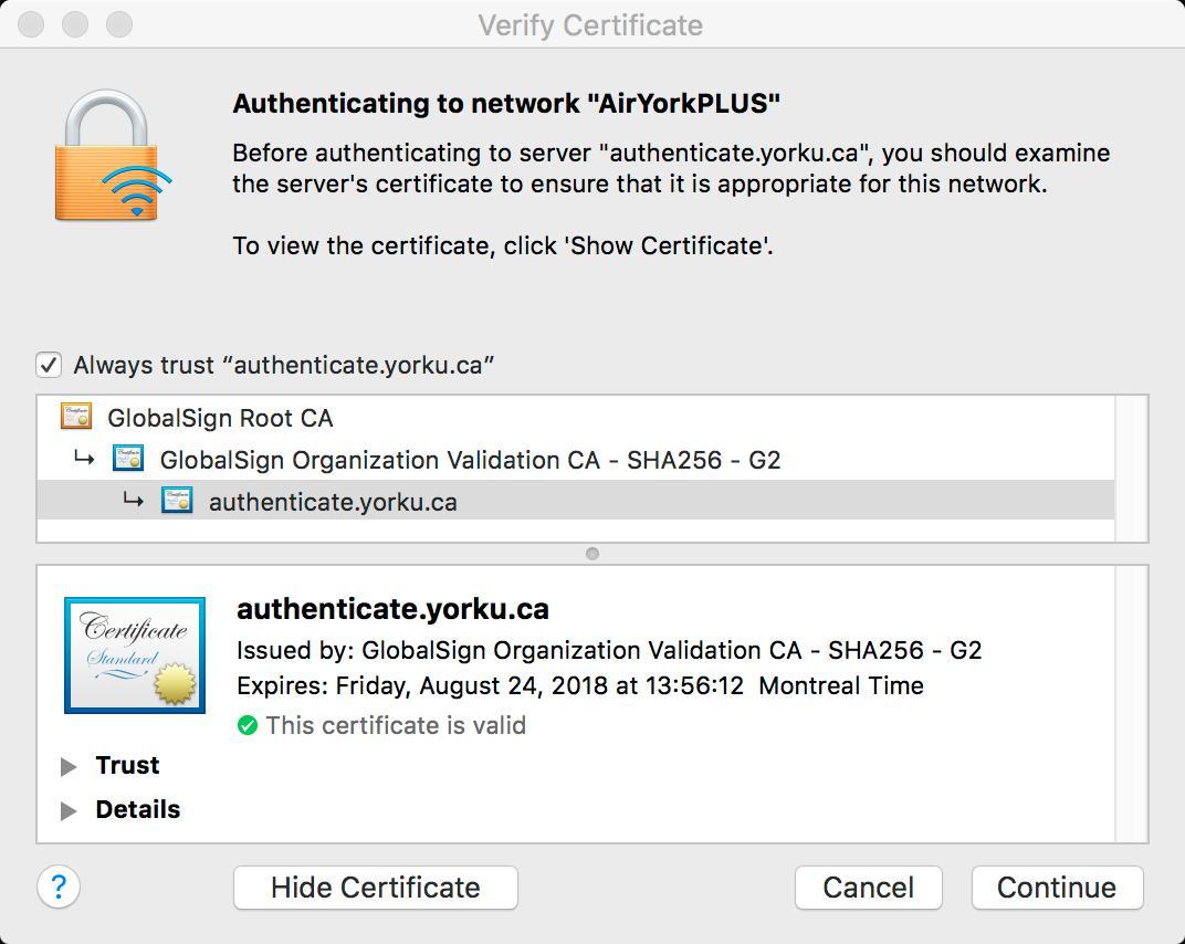 Screenshot of Verify Certificate popup