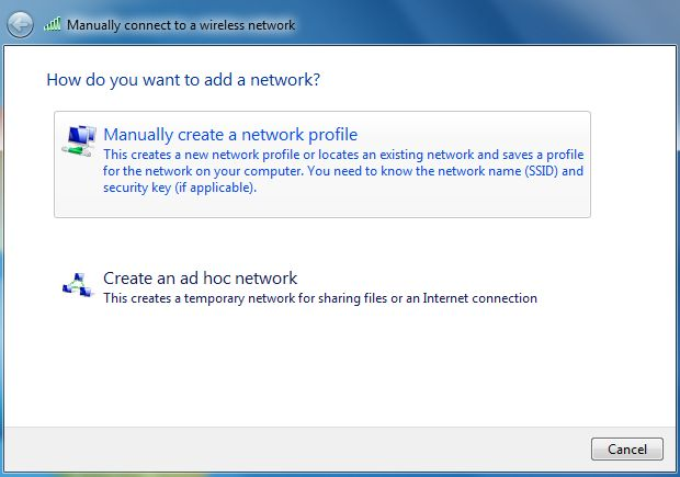 Screenshot of manually connecting to a wireless network