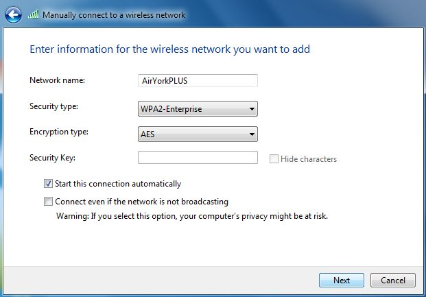 Screenshot of entering wireless network information