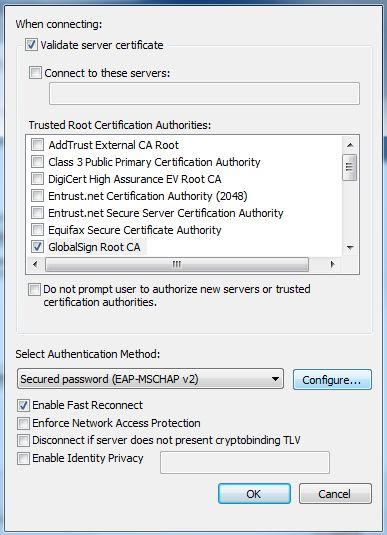 Screenshot of validating server certificate