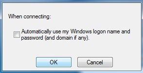 Screenshot of automatically using windows logon name and password