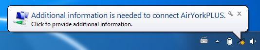 Screenshot of additional information needed popup