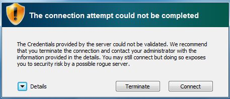 Screenshot of connection could not be completed pop-up