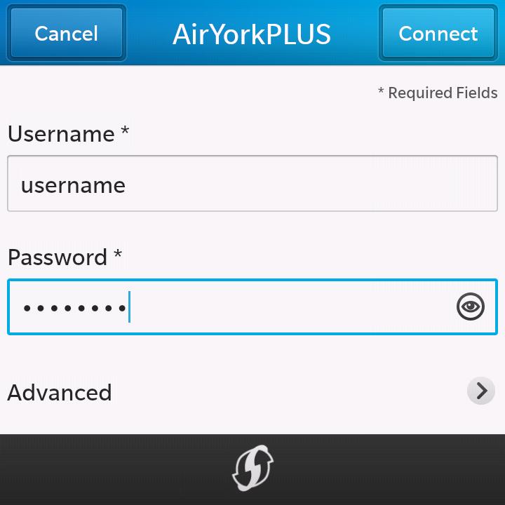 Image showing fields for entering Passport York credentials