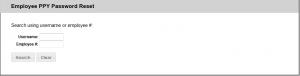 Screenshot of popup showing Employee PPY Password Reset