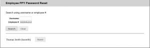 Screenshot of popup showing Employee number lookup