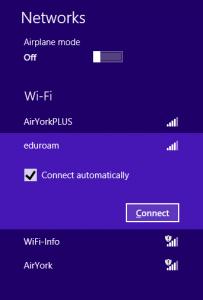 Screenshot of  Win 8 Connect to eduroam