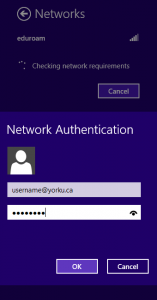 Screenshot of  Win 8 Network Authentication