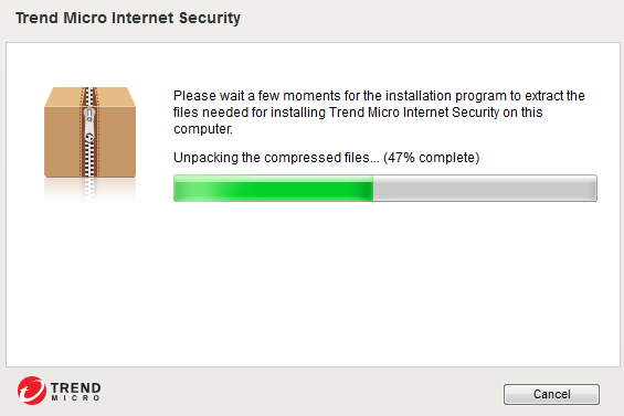 Screemshot of window showing uncompressing Trend Micro Internet Security