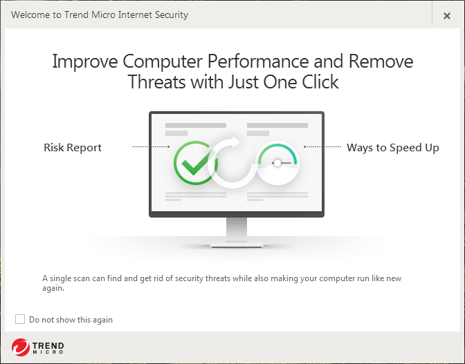 Screenshot window showing welcome to Trend Micro Internet Security