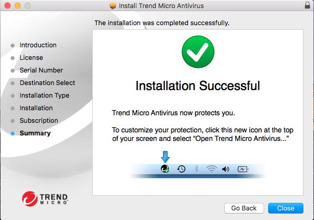 Screenshot of window showing installation successful