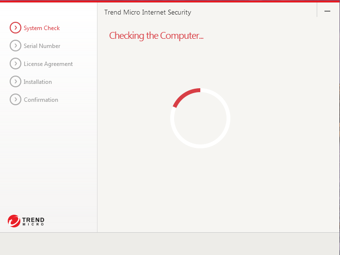Screenshot showing window showing Trend Micro Internet Security - Checking the computer