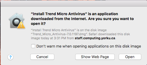 Screenshot of popup asking to install Trend Micro