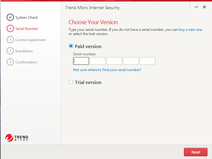 Screenshot of window showing asking to choose paid or trial version