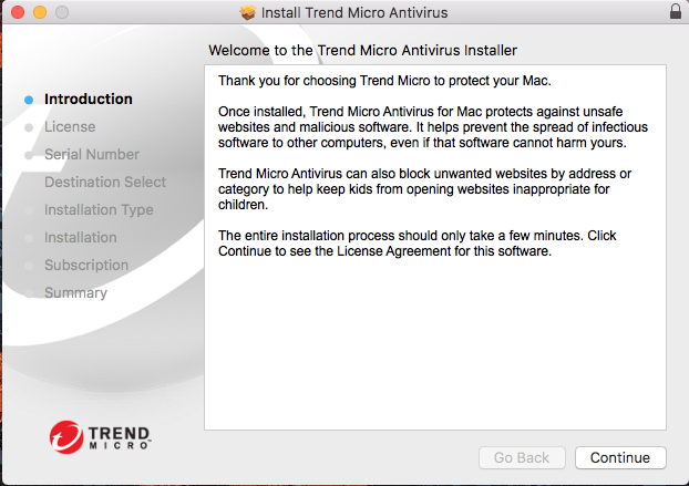 Screenshot showing introduction to Trend Micro Antivirus installation