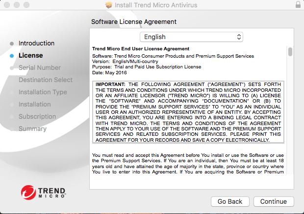 Screenshot showing license agreement